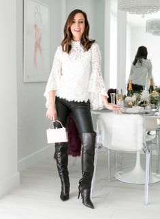 Sydne Style shows how to wear leather and lace for winter fashion trends High Heel Boots, Heeled Boots, Sexy Outfits, Cool Outfits, Boots And Leggings, Leather And Lace, Purple Leather, Ladies Dress Design, Over The Knee Boots