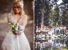 I love the party photo w/ the reflection!  Rustic Chic Lake Arrowhead Wedding: Jennifer + Kyle