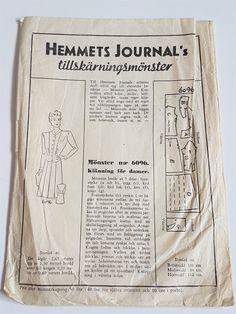 Hemmets Journal 3918 symönster 30/40-tal - vintage retro lindy rockabilly Swedish Sewing, Vintage Sewing Patterns, Rockabilly, Retro Vintage, Journal, Velvet, Rock Style