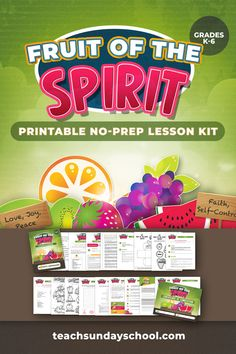 Printable Fruit of the Spirit Lesson Kit- Includes craft template, games, worksheets, coloring sheets, etc.  Great for Sunday School lesson, children's church, homeschool.  Grades K-6
