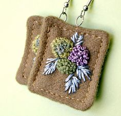 Hydrangea Fiber Earrings Textile Hand embroidery tagt by Waterrose Fabric Earrings, Fabric Beads, Diy Earrings, Textile Jewelry, Fabric Jewelry, Beaded Jewelry, Jewellery, Beaded Embroidery, Cross Stitch Embroidery