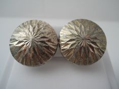 Sterling Silver 925 Etched Burst Dome Earrings 1 in by Replays