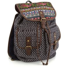 Accessorize Suzie Braid Tapestry Rucksack ($21) ❤ liked on Polyvore featuring bags, backpacks, draw string backpack, drawstring backpack bag, pocket bag, drawstring backpacks and drawstring bag