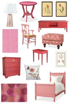 Cottage Decor: Shades of Pink You can find information about each of these furniture pieces and prices by visiting the link.   #redtvconsole #pinknightstand #pinkrugs #goldlamp #pinkbedframe #cottagestyle #maroonandpinkrug #flowerrug #seashellartwork #pinkdiningroomchair #redpatternottoman #floweredpillow #reddresser #cottagefurniture  http://www.thedistinctivecottage.com/inspiration-board-shades-of-pink/