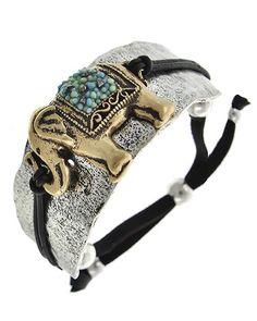 Two-tone / Black Leather / Lt.blue Seed Beads / Lead&nickel Compliant / Metal / Animal / Elephant / Adjustable / Bracelet