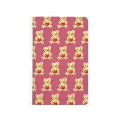 Cute Teddy Bear Hypnotist Pink Pattern Journals - Customizable cute kids journal with a pattern of cute teddy bears holding red hearts. $11.85 #teddybear #pattern #stationery #journal