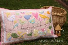 "Marie's quilts: Наволочка ""Птички""/ Pillow ""Birds"" - взято из блога http://mquilts.blogspot.ru/2015/09/pillow-birds.html#comment-form"