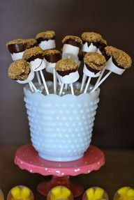 S'mores on a stick!! Hello yumminess! Huge hit, delicious and easy. I put Reese's chocolate chips in too! 10/2013