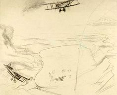 'The Sea of Galilee: Aeroplanes Attacking Turkish Boats', 1919, by Sydney Carline. | Extraordinary First World War Art, From Initial Sketches To Finished Paintings