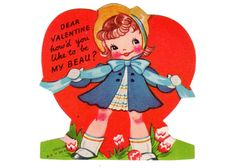 Vintage Valentine Card 1950s Sweet Little Girl With Blue Ribbon Hat