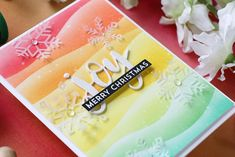 MFT-Joy Winter Cards, Holiday Cards, Christmas Cards, Merry Christmas, Christmas Ideas, Snowflake Cards, Snowflakes, Rainbow Card, Card Making Supplies
