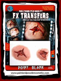 """Tinsley 3D-FX Transfers """"Point Blank"""" - part of a collection of ultra life-like prosthetic appliances created by Academy Award Winning SFX Artist, Christian Tinsley. Uses the same innovative self-adhesive prosthetic transfer process (no adhesive needed!) he invented for use on the big and small screen. It blends seamlessly on skin and stays put for long lasting waterproof wear. These affordable appliances will produce startling, believable results that will definitely fool the eye!"""
