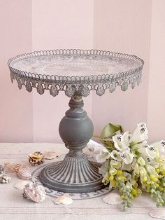 """I love vintage/antiques. This antique cake stand with a glass inset plate screams, """"Take me home with you!"""""""