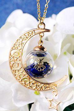☆ラピスラズリと月の精霊ペンダントⅢ☆ in 2020 Kawaii Jewelry, Cute Jewelry, Diy Jewelry, Jewelry Accessories, Jewelry Design, Jewelry Making, Unique Jewelry, Bottle Charms, Resin Charms