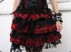 Red Lolita Plaid Skirt