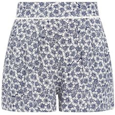 Blue Floral Crochet Trim Shorts ($23) ❤ liked on Polyvore