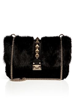 456c923168  Valentino Fur Rockstud Shoulder Bag - Lyst Large Handbags