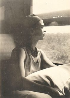 Frida on the train to Mexico (1932)
