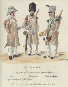 Line Infantry Campaign Dress Germany L to R Musician, Sapper Sergeant & Voltigeur Cornet Kingdom Of Naples, Kingdom Of Italy, Italian Army, National History, Army Uniform, Napoleonic Wars, Military History, Germany, Reggio
