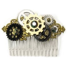 Steampunk Gears Costume Hair Comb Detailed Steampunk Gears Hair Piece with Clear Comb Chat Steampunk, Style Steampunk, Steampunk Crafts, Steampunk Gears, Steampunk Design, Steampunk Cosplay, Steampunk Wedding, Steampunk Clothing, Steampunk Fashion