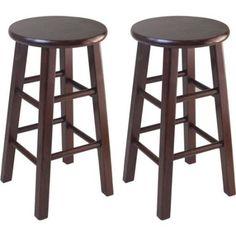 "ICYMI: Classic Bar Stools 24"" Set of 2 Sturdy Comfortable Wooden Kitchen Stool Walnut"