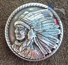 CON01000CL - INDIAN CHIEF PROFILE LEFT CONCHOS - Texas Uniques Store