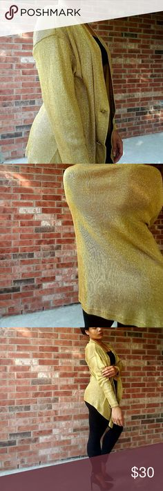 Vintage Longsleeve Metallic Gold Cardigan This glamorous Accessory Lady vintage cardigan would be the perfect addition to your closet. Available pre-loved in size large. No holes no tears no stains, very well taken care of. 70% acetate 30% lurex Dry clean only. GOLD Lady Accessory Sweaters Cardigans