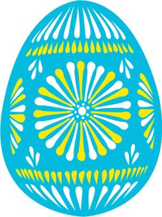 Large size Easter egg blue Clipart vector