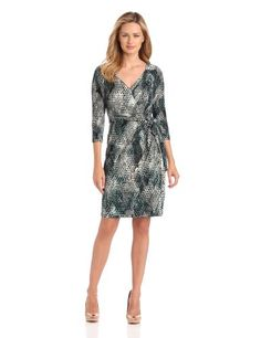Ivy & Blu Women's Elbow Sleeve Faux Wrap Jersey Dress #workdresses
