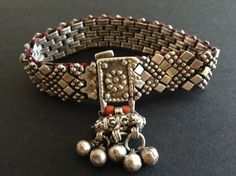Silver and red coral Yemeni bracelet