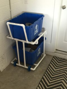 Recycling Bin Cart  3D Printed Wheels, Pvc body Retail Cost- $50 plus  DIY Cost - $30