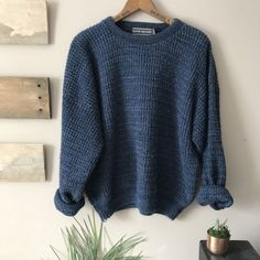 73ffc9e10 Navy blue chunky knitted crewneck sweater. Fits like a men s - Depop Large  Women