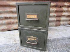 Set of 2 Industrial Metal Cabinets Card Catalog Metal Case Bin Cabinet Parts Orgnizer or Storage Steampunk Industrial Cabinet VTG Filing Old