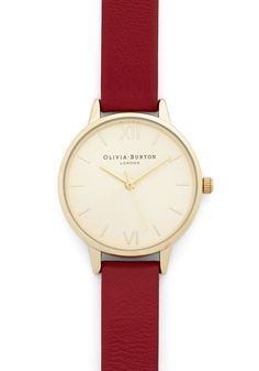 Time Floats By Watch in Gold/Cherry - Petite. Youre drifting on a cloud of stylish enchantment as you daydream, this leather watch from Olivia Burton keeping track of the passing hours! #red #modcloth