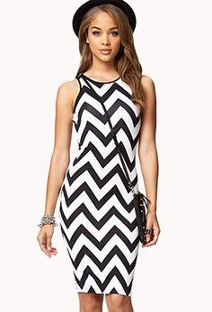 Chevron Scuba Knit Midi Dress #forever21