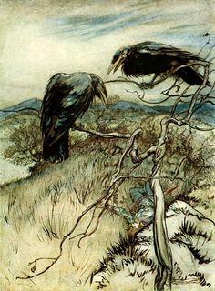 "quartetfortheendoftime: "" The Twa Corbies or The Two Ravens (c. 1919) by Arthur Rackham """