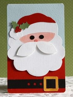 Make a greeting card with Santa Claus made from different cut out pieces from colored cards, mostly red, white and pink. Christmas Card Craft Idea #Christmas #Parenting PARENTING HEALTHY BABIES