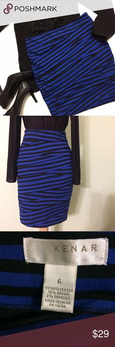 """Kenar Zig Zag Striped Skirt Great condition...Cute with royal blue and black stripes and a zig zag fabric pattern it has a side zipper and 2% spandex for a great fit!! Size 6 it measures 15.5"""" laying flat hips are 17.5"""" and length is 20"""" bundle to save more plus ⚡️ Kenar Skirts Pencil"""