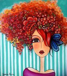 Romina Lerda oh the hair Art Pop, Pintura Graffiti, Art Altéré, Art Visage, Afrique Art, Arte Sketchbook, Art Et Illustration, Whimsical Art, Face Art