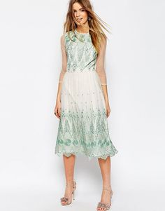 ASOS+PREMIUM+Mesh+Midi+Dress+With+Green+Embroidery