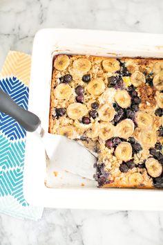 Easy Blueberry Banana Oatmeal Cake. Our kids' favorite way to eat oatmeal!
