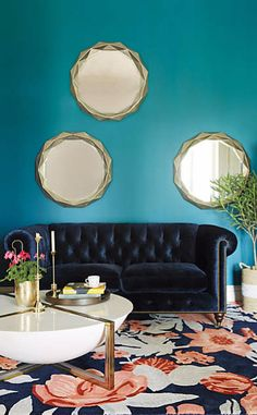 Slub Velvet Petite Lyre Chesterfield Sofa, Hickory #anthroregistry