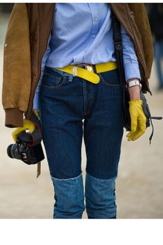 A pair of patchwork jeans add a rustic element to the Tuileries Gardens in Paris.