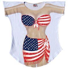 f31b74902d La Imprints Sexy Bikini Swimwear Cover Up USA Flag Sarong T-Shirt Tee Pajama  Usa