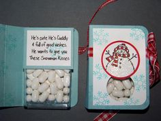 "snowman kisses...maybe, better than the ""snowman poop"" idea..teehee"