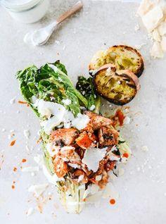grilled caesar buffalo chicken salad I howsweeteats.com #grilled #caesar #buffalochicken #salad #dinner #howsweeteats