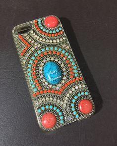 #case #celular @adritrannin #coral #turquesa #strass