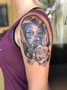 Sexy, dangerous, woman tattoo with revolver - Portrait tattoo idea, woman shooting revolver, rose tattoo - Skull Tattoos, Leg Tattoos, Body Art Tattoos, Badass Tattoos, Henna Tattoos, Tattoo Girls, Girl Tattoos, Unique Half Sleeve Tattoos, Sleeve Tattoos For Women