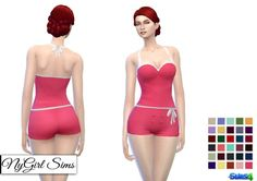 NY Girl Sims: Vintage Halter Romper with Bow • Sims 4 Downloads