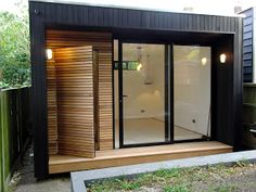 office in my garden: A small Garden Office that has Sliding Doors, Ceda...